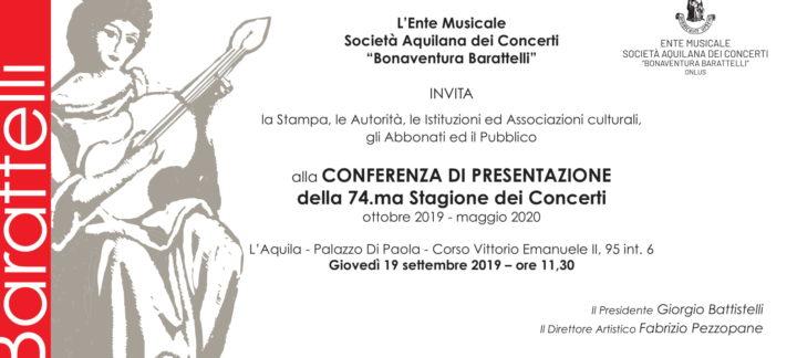 Conferenza di Presentazione della 74.ma stagione concertistica 2019 – 2020
