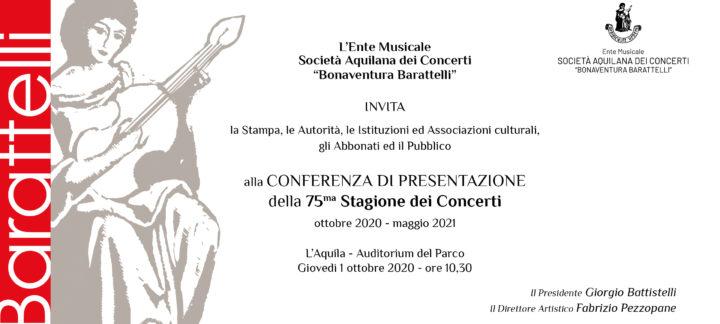 Conferenza di presentazione della 75.ma stagione dei concerto 2020 – 2021